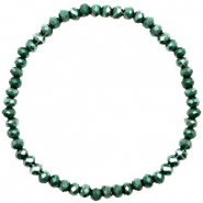Facet armbanden top quality 4x3mm Dark green-pearl shine coating