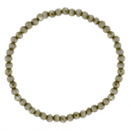 Facet armbanden top quality 4x3mm Olive army green-pearl shine coating