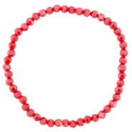Facet armbanden top quality 4x3mm Samba red-pearl shine coating