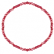Facet armbanden top quality 3x2mm Salsa red-pearl shine coating