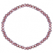 Facet armbanden top quality 4x3mm Light purple-pearl shine coating