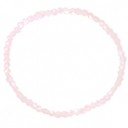 Facet armbanden top quality 3x2mm Light pink-pearl shine coating