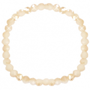 Facet armbanden top quality 6x4mm Beige peach-half pearl shine coating
