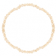 Facet armbanden top quality 3x2mm Beige peach-half pearl shine coating