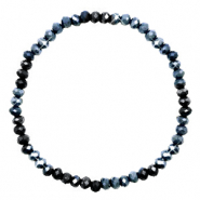 Facet armbanden top quality 3x2mm Midnight blue-pearl shine coating