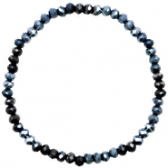 Facet armbanden top quality 4x3mm Midnight blue-pearl shine coating