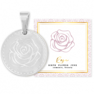 Mix & Match bedels van Stainless steel Roestvrij staal (RVS) 15mm Birth flower June-Rose Zilver