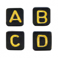 Acryl letterkralen mix Black-gold