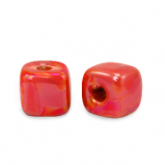 Grieks keramiek DQ kralen cube 8mm True red