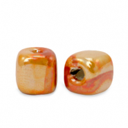 Grieks keramiek DQ kralen cube 8mm Amberglow orange