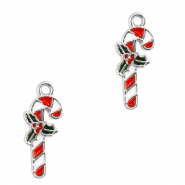 Basic quality metaal bedel candy cane Zilver-rood