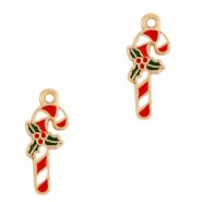 Basic quality metaal bedel candy cane Goud-rood
