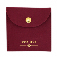 "Sieradenzakje ""with love"" Bordeaux red-gold"