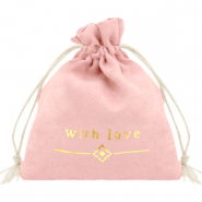 "Sieradenzakje ""with love"" Vintage pink-gold"