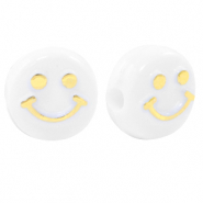 Acryl letterkralen smiley White-gold