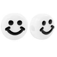 Acryl letterkralen smiley White-black