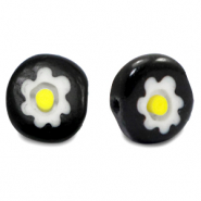 Millefiori glaskralen disc flower 10mm Black-white-yellow