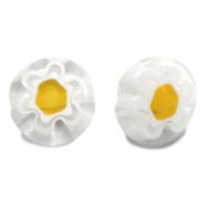 Millefiori glaskralen disc flower 10mm Transparent-white-yellow