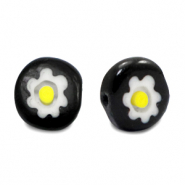 Millefiori glaskralen disc flower 8mm Black-white-yellow