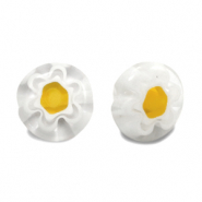 Millefiori glaskralen disc flower 8mm Transparent-white-yellow