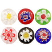 Millefiori glaskralen disc flower 10mm Multicolour