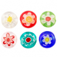 Millefiori glaskralen disc flower 6mm Multicolour