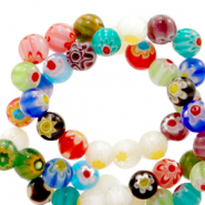 Millefiori glaskralen round flower 6mm Multicolour