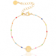 Armbanden van Stainless steel Roestvrij staal (RVS) rainbow coin Goud-multicolour