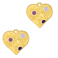 Metaal bedels DQ heart with flowers Goud-purple (nikkelvrij)
