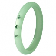 Ringen Polaris 3mm met Swarovski steentjes Matt Crysolite green