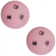 Cabochon Polaris 12 mm 3 Swarovski steentjes Vintage rose