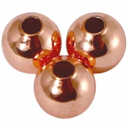 DQ kralen 8 mm met 2,5 mm rijggat DQ Rose Gold plated duurzame plating