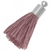 Kwastje met zilverkleurige eindkap medium Light aubergine purple