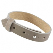Cuoio armband leer large-size 15 mm voor 20 mm cabochon Taupe