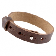 Cuoio armband leer large-size 15 mm voor 20 mm cabochon Fudge brown