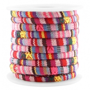 Koord Aztec small 5x4mm Multicolor Geel pink