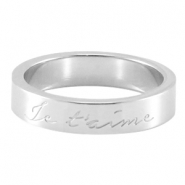 "Quote ring ""Je T`aime"" Zilver"