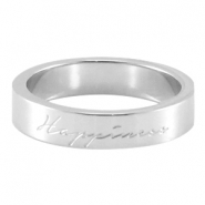"Quote ring ""happiness"" Zilver"