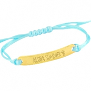 Armbanden satijnkoord met quote Goud - Light aquamarine blue
