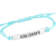 Armbanden satijnkoord met quote Zilver - Light aquamarine blue