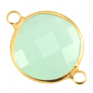 Tussenstuk crystal glas 16mm rond Crysolite green opal-Gold