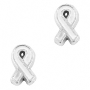 Floating Charm Awareness Ribbon Antiek zilver-wit