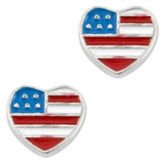 Floating Charm Hart USA Antiek zilver-blauw rood wit