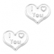 Floating Charm Hart I Love You Antiek zilver-wit