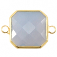 Tussenstuk crystal glas vierkant 16x16mm Light grey opal-Gold