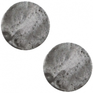 Cabochon Polaris plat 12mm Mosso shiny Stormy silver grey