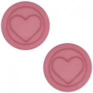Polaris cabochon hart plat matt 12mm Antique pink