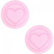 Polaris cabochon hart plat matt 12mm Pastel rose pink