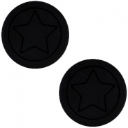 Polaris cabochon ster plat matt 12mm Black