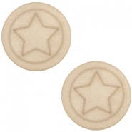 Polaris cabochon ster plat matt 12mm Light taupe